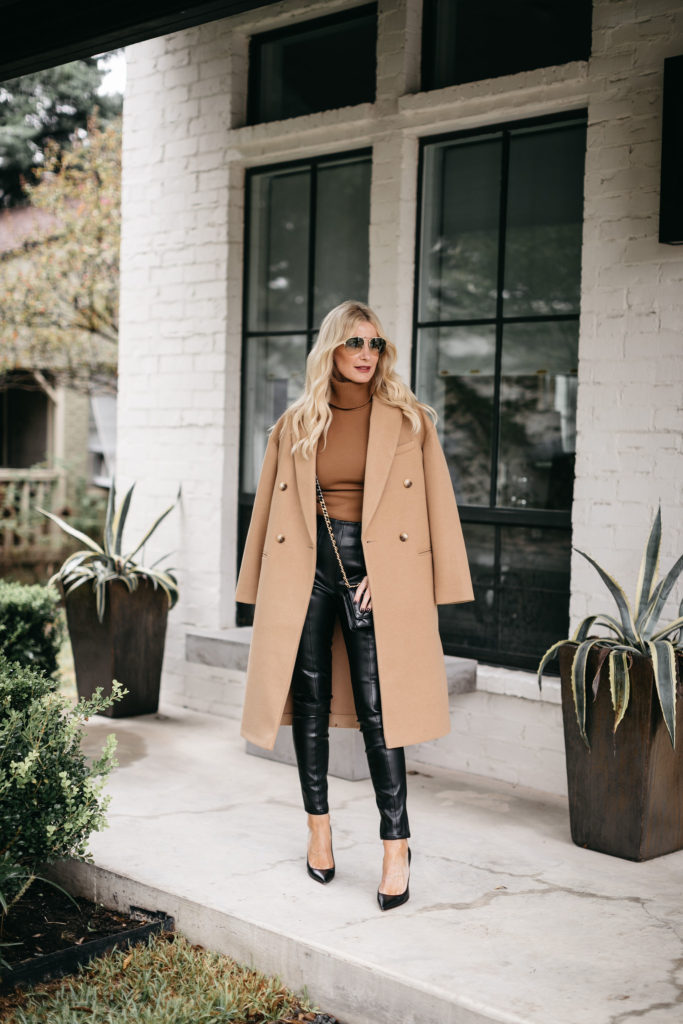 Dallas blogger wearing a camel coat and faux leather joggers for fall