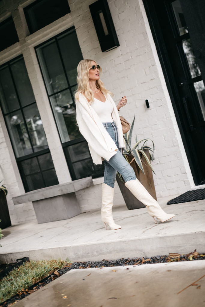 Dallas blogger wearing a faux fur white cardigan and a white bodysuit
