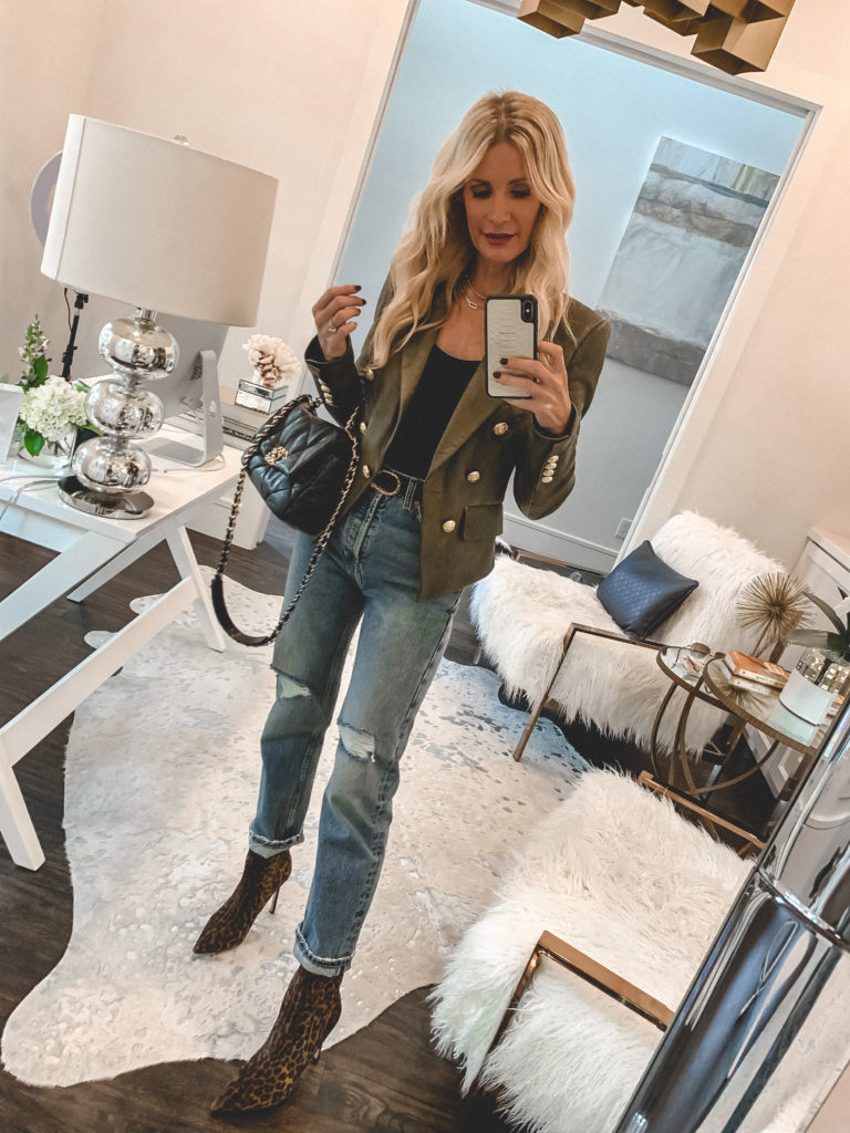 Dallas blogger wearing a army green jacket with gold detail