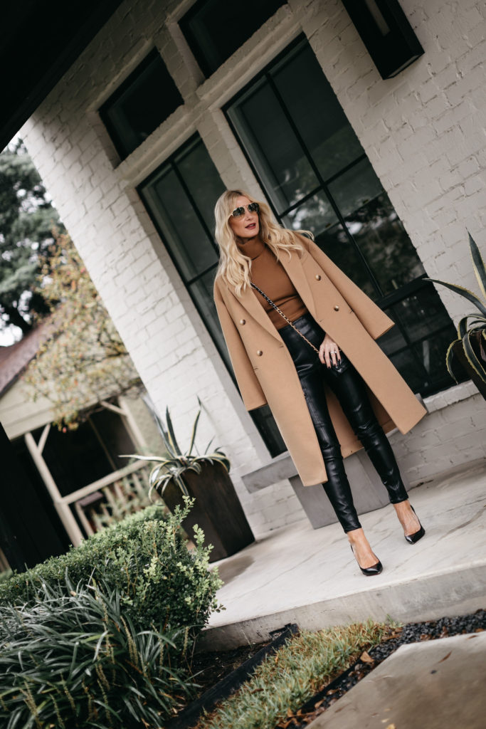 Dallas fashion blogger wearing a camel coat and faux leather pants for fall and winter
