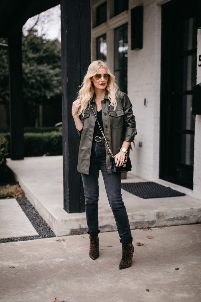 Fashion blogger wearing Redone black denim and a faux leather shirt jacket