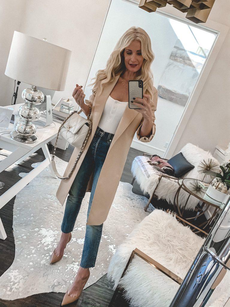 Dallas style blogger wearing Veronica Beard straight leg denim and a neutral coat