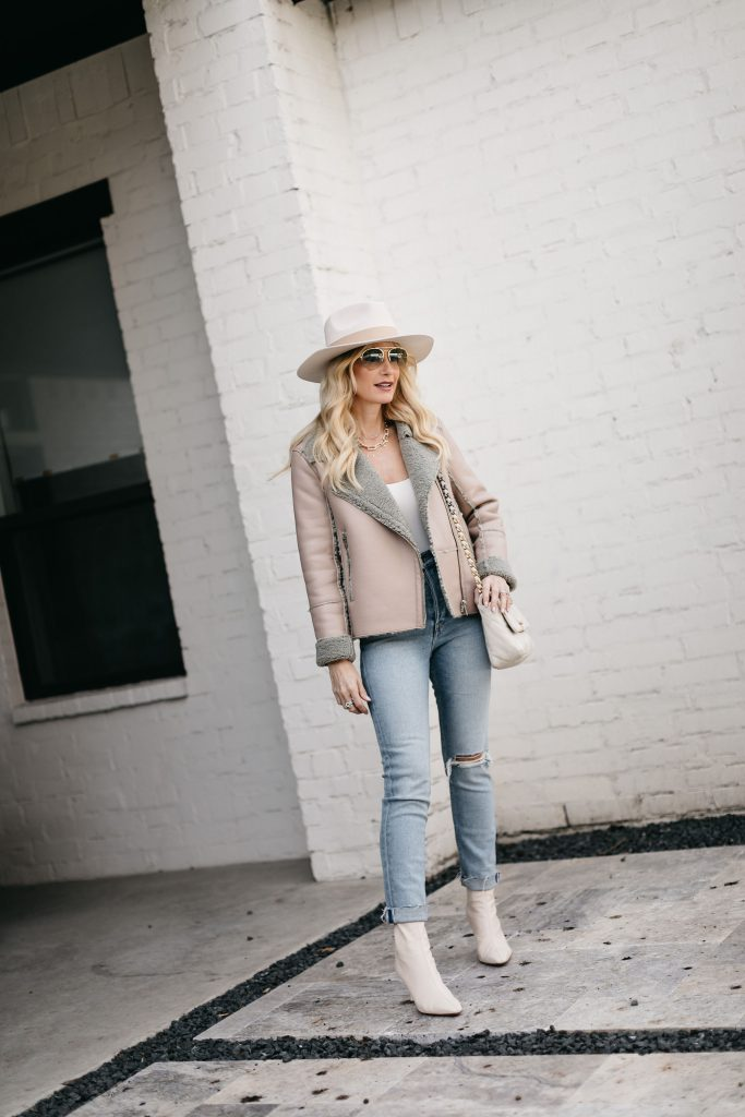 Dallas blogger wearing a warm jacket and a hat part of the curateur box