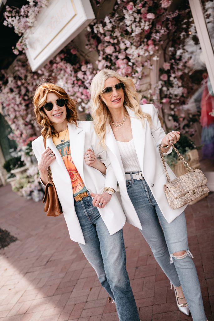 Style blogger wearing a white bodysuit and a white blazer for spring 2021
