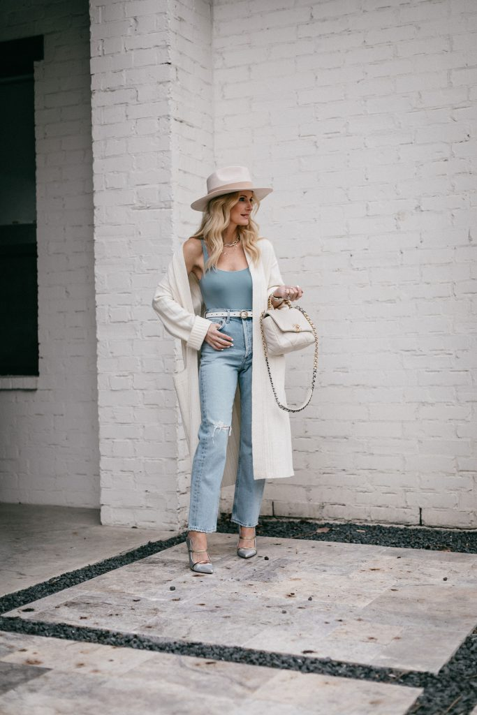 So Heather blog wearing a light blue bodysuit and a neutral cardigan for spring