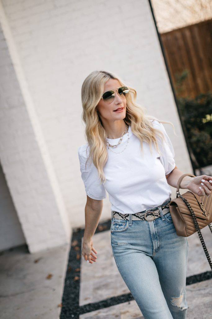 Dallas fashion blogger wearing a snakeskin belt and white puff sleeve top