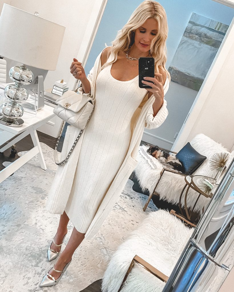 Dallas fashion blogger wearing a white body con dress and a white cardigan in spring