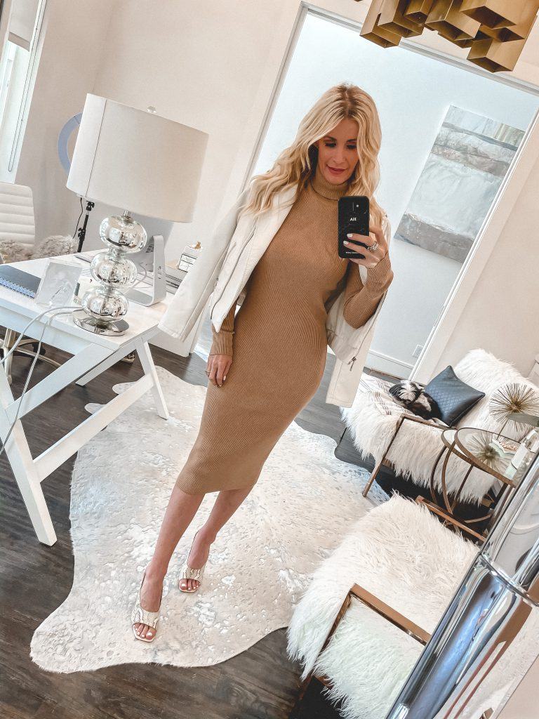Dallas style blogger wearing a camel turtleneck Dress and a white leather jacket