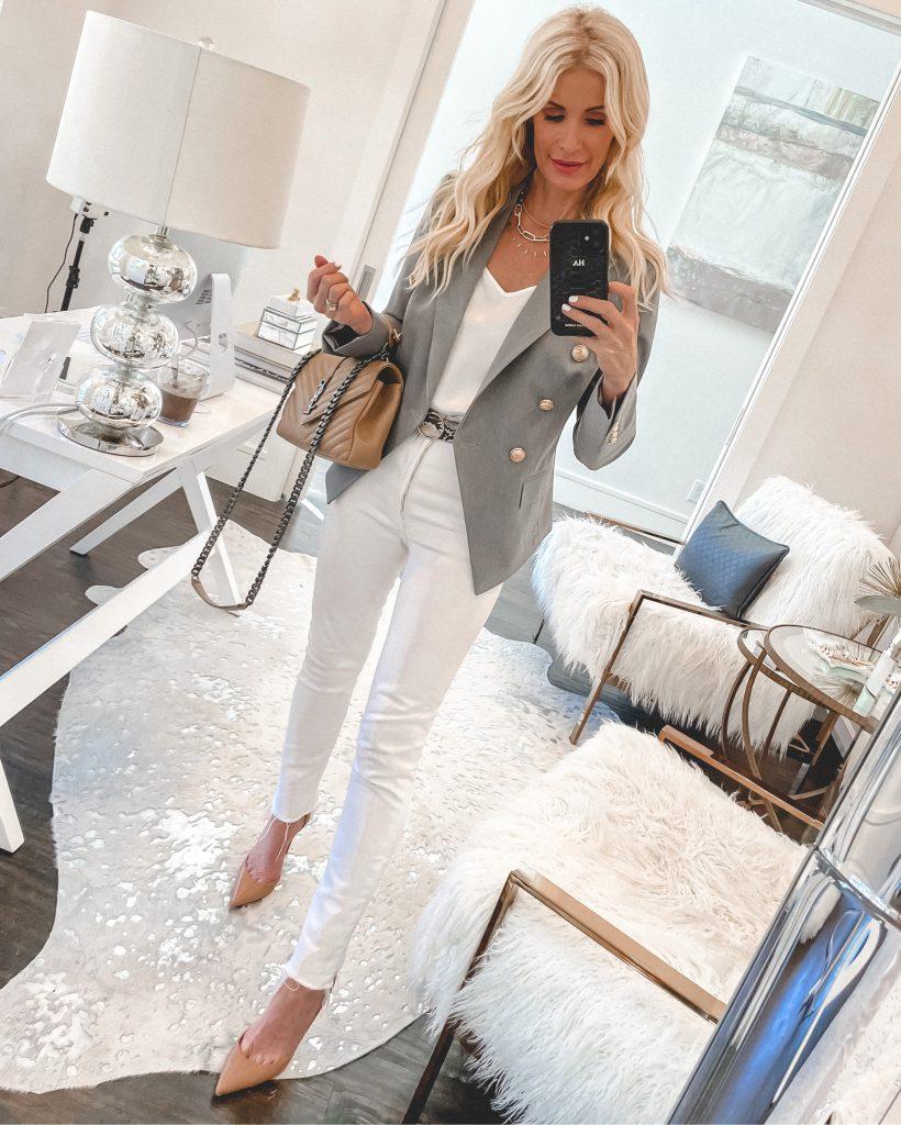 So Heather fashion blogger wearing white denim and a grey blazer