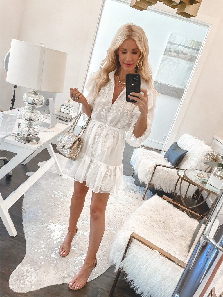 Dallas style blogger wearing a spring and summer white sundress