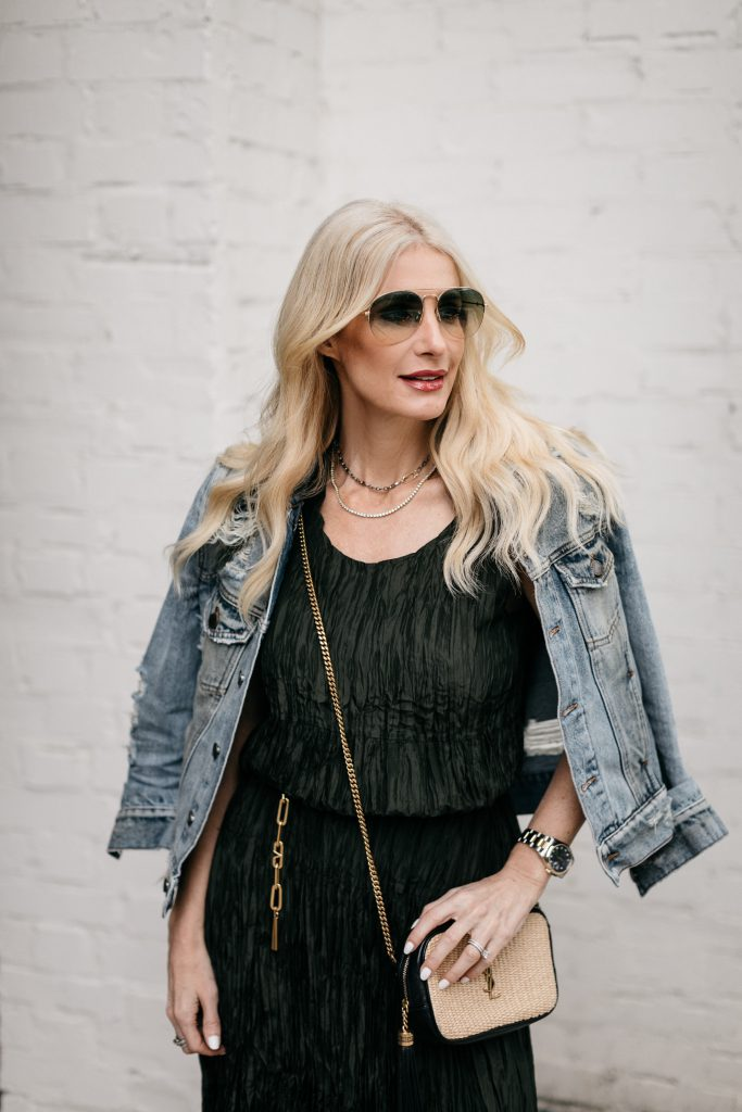 So Heather Blog Dallas style blogger wearing a vintage denim jacket and olive green Eileen Fisher dress