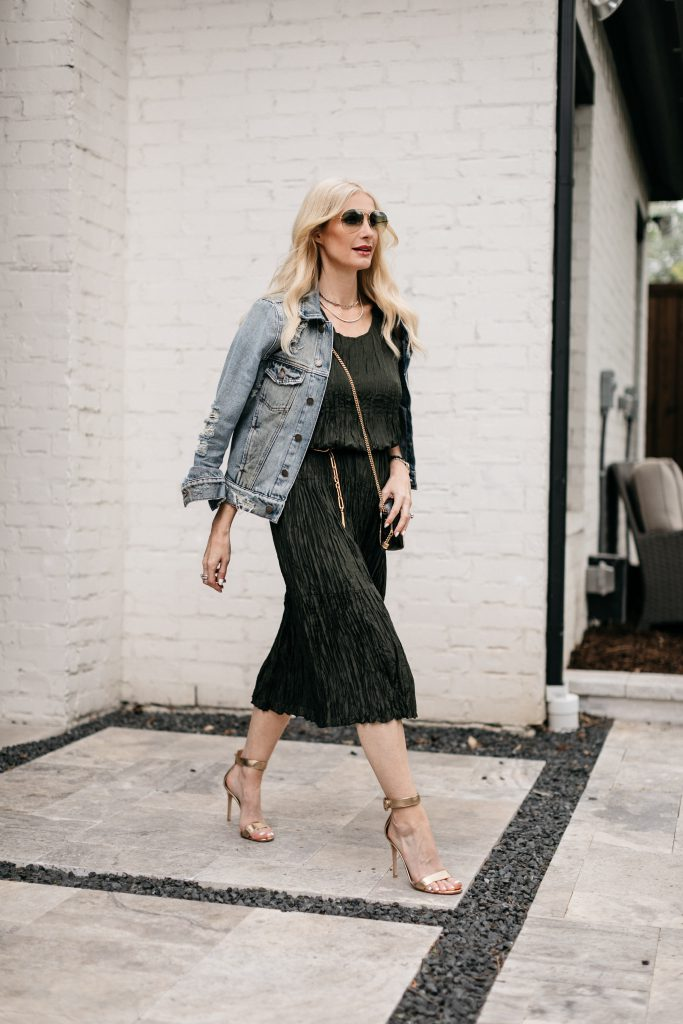 So Heather Blog wearing a versatile olive green dress by Eileen Fisher and a denim jacket for spring