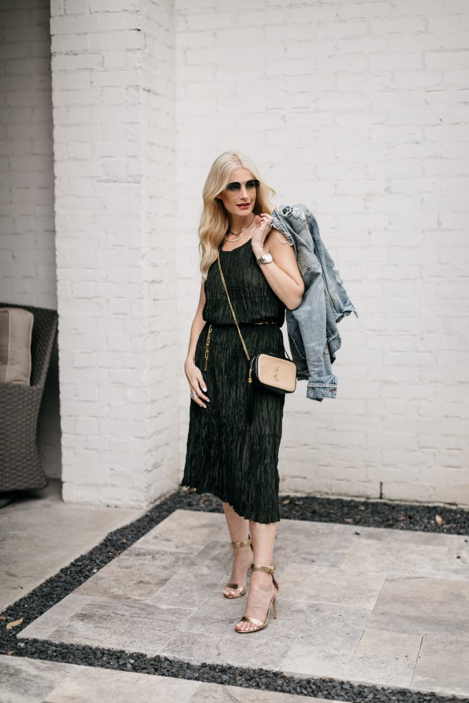 Dallas fashion blogger wearing gold heels and a YSL woven handbag for spring