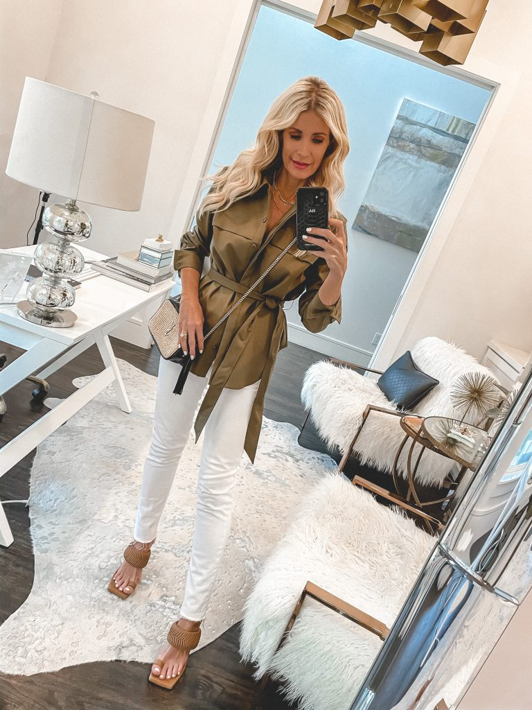 So Heather blog Dallas style blogger wearing Agolde Nico white denim and an olive green top