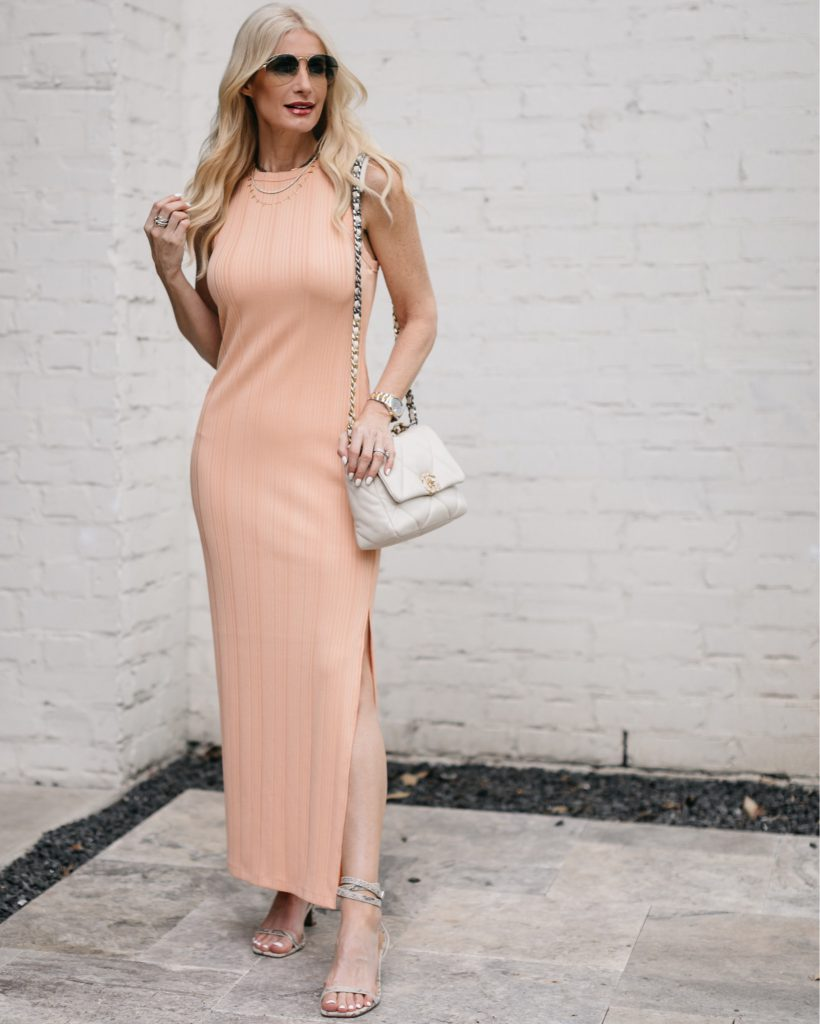 So Heather blog wearing a pastel maxi dress with a white Chanel bag
