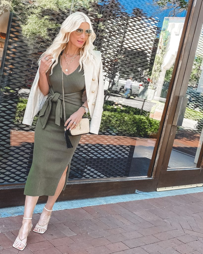 So Heather Blog Dallas blogger wearing an olive green midi dress and a white jacket
