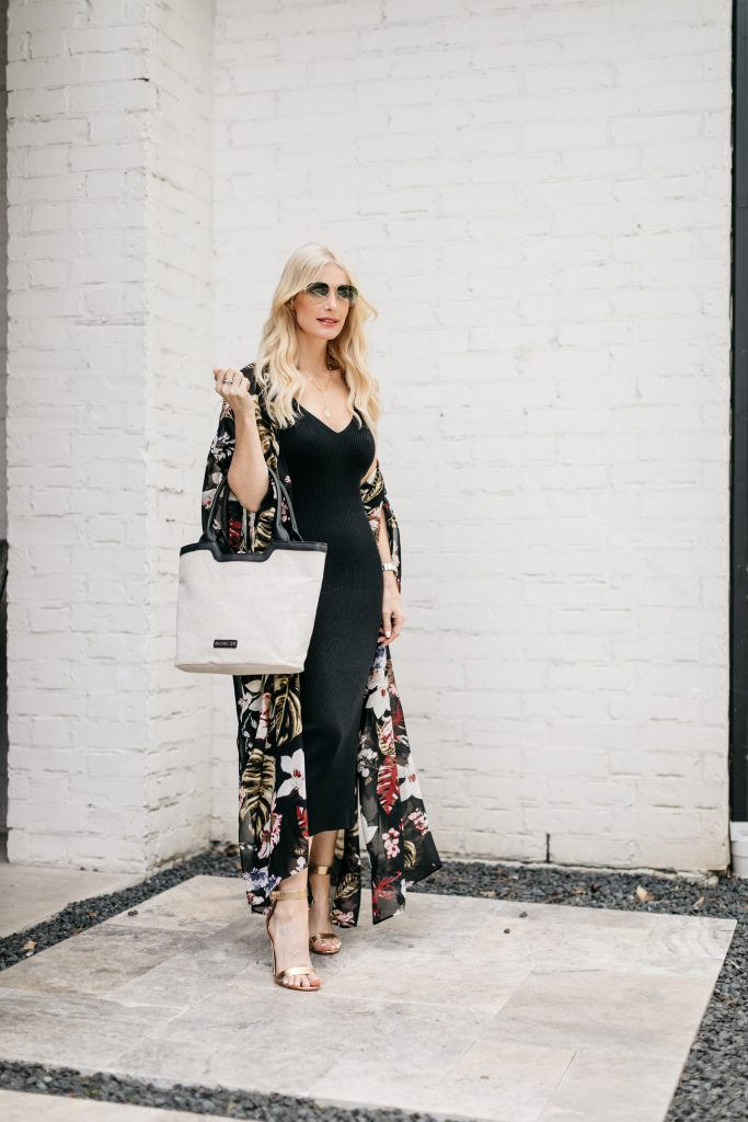 So Heather blog wearing a chic black midi dress and a white bag from the Rachel Zoe Summer Curateur Box