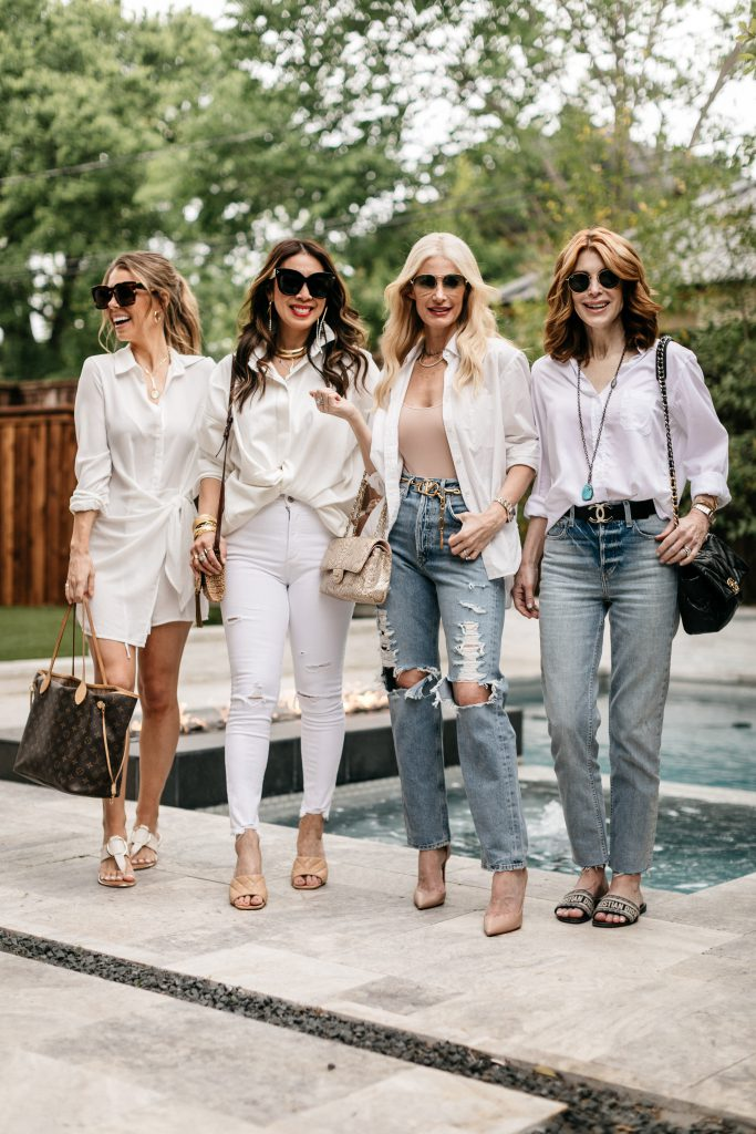 Chic at Every Age featuring white button-down tops and denim for summer
