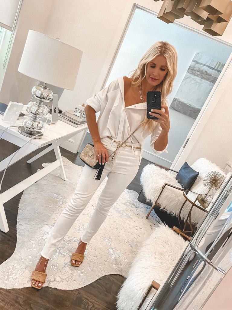 So Heather blog wearing white jeans and a white button-down top