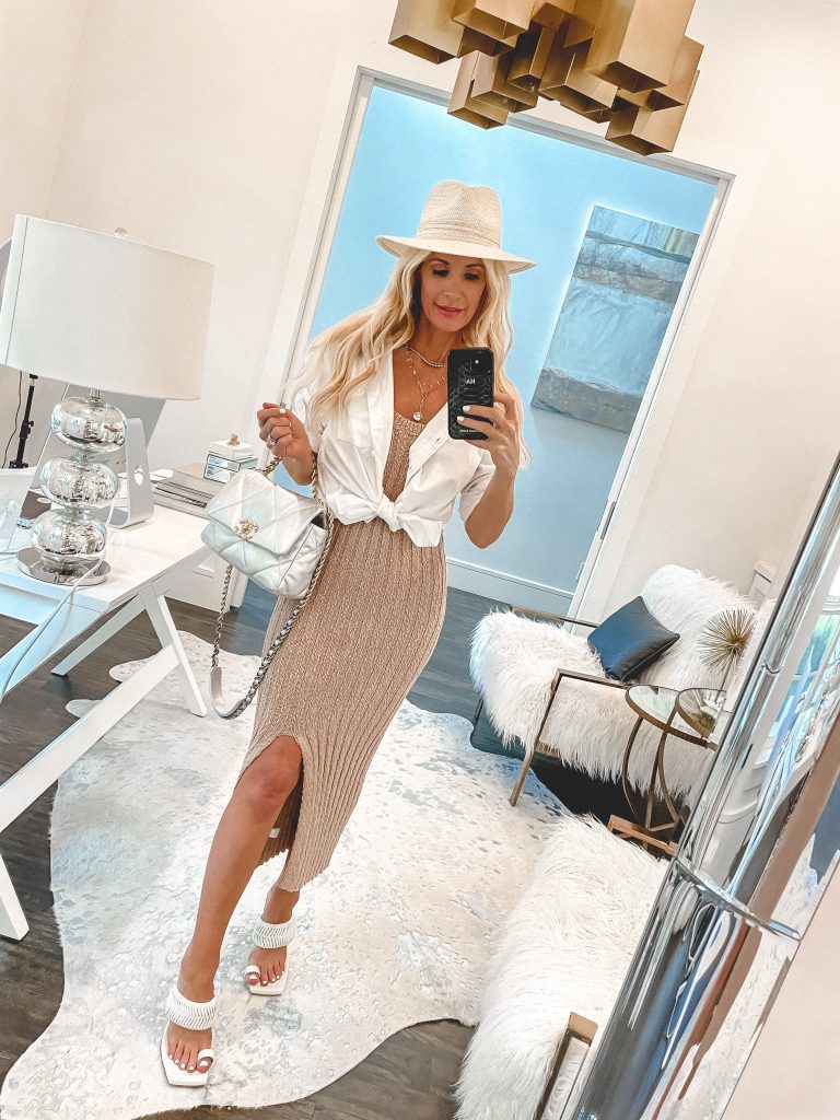 So Heather Blog wearing a chic body con dress and a white button-down top