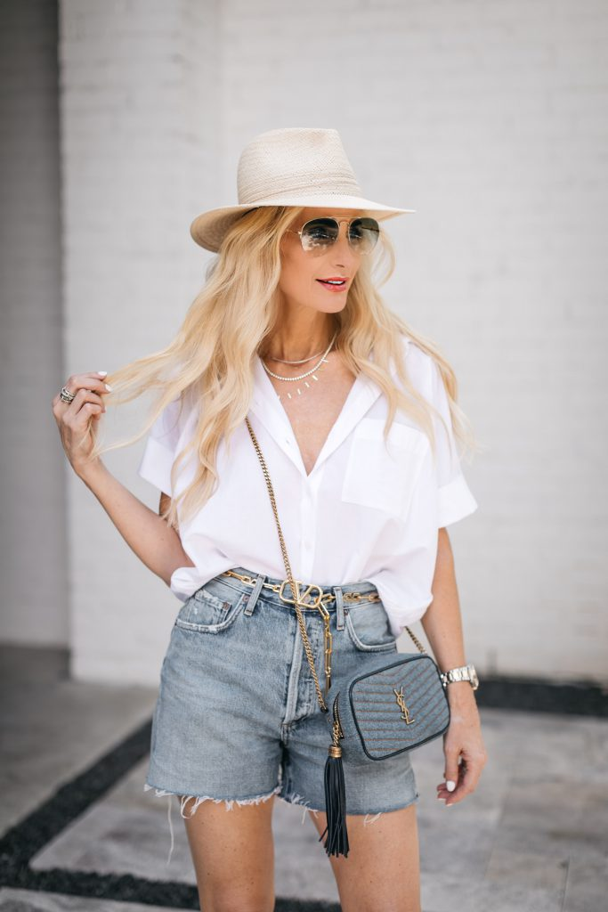 dallas blogger So Heather Blog wearing a straw hat and a chic short-sleeved button-down top