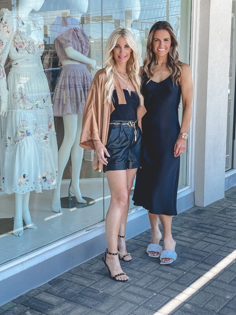 So Heather Blog with Street Style Squad wearing faux leather shorts and heels