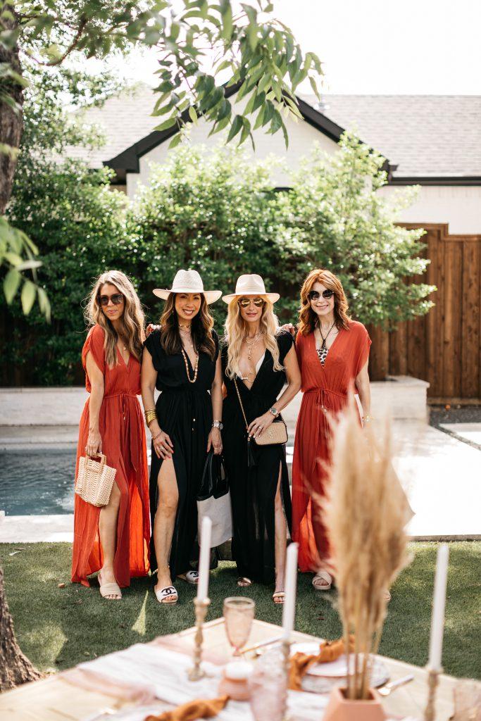 Dallas fashion bloggers wearing black and orange swim cover-ups