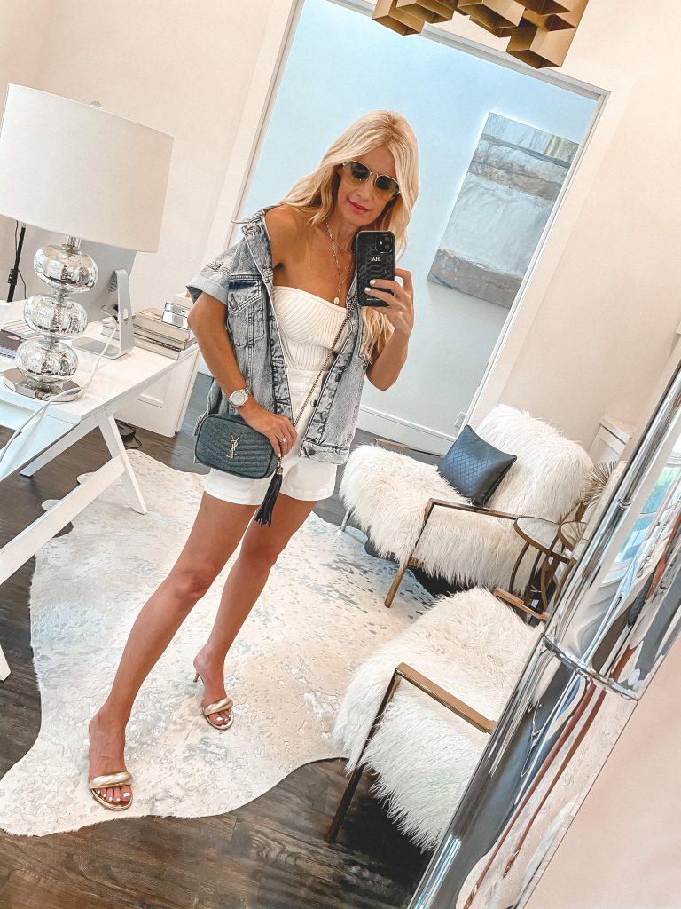 So Heather Blog wearing a short sleeve denim jacket and white shorts