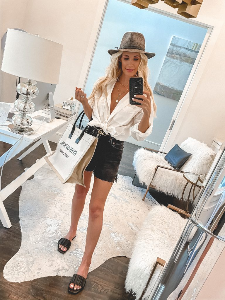 So Heather Blog wearing a white button down top and black Dee Agolde shorts