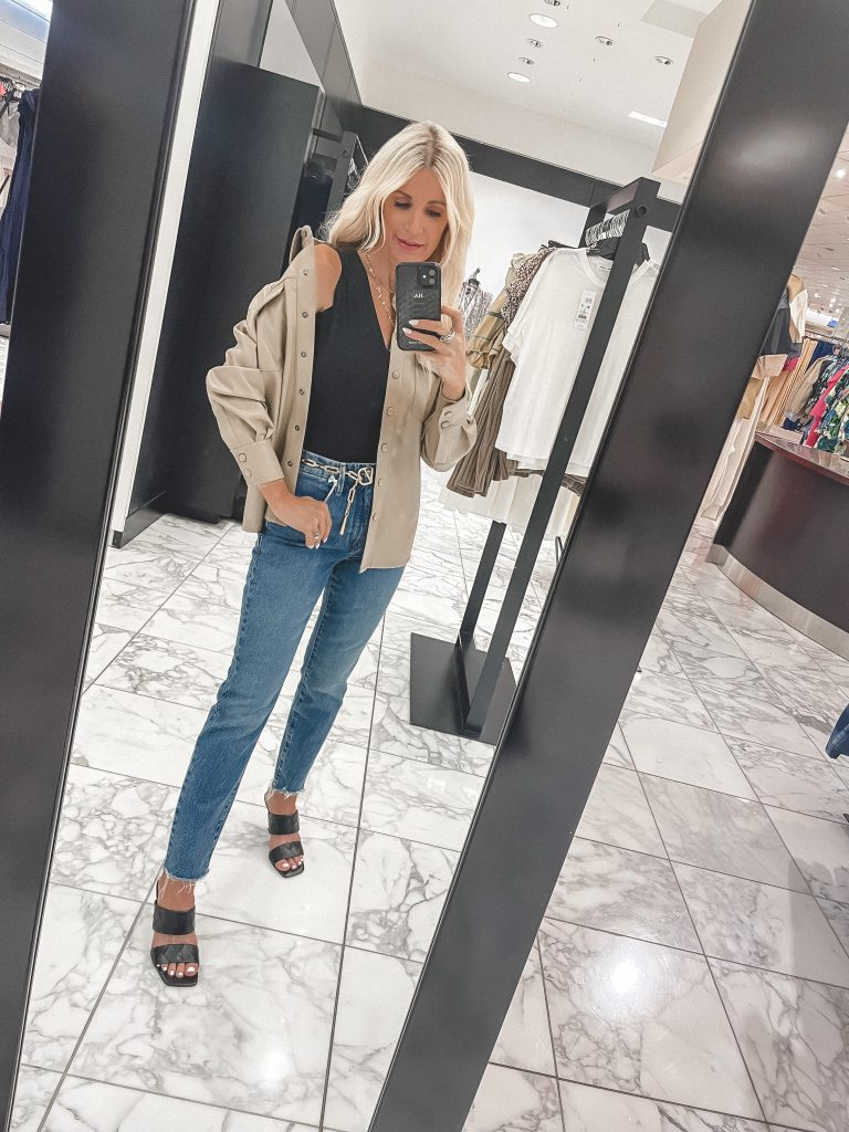 Dallas blogger wearing a faux leather shirt jacket for the nSALE