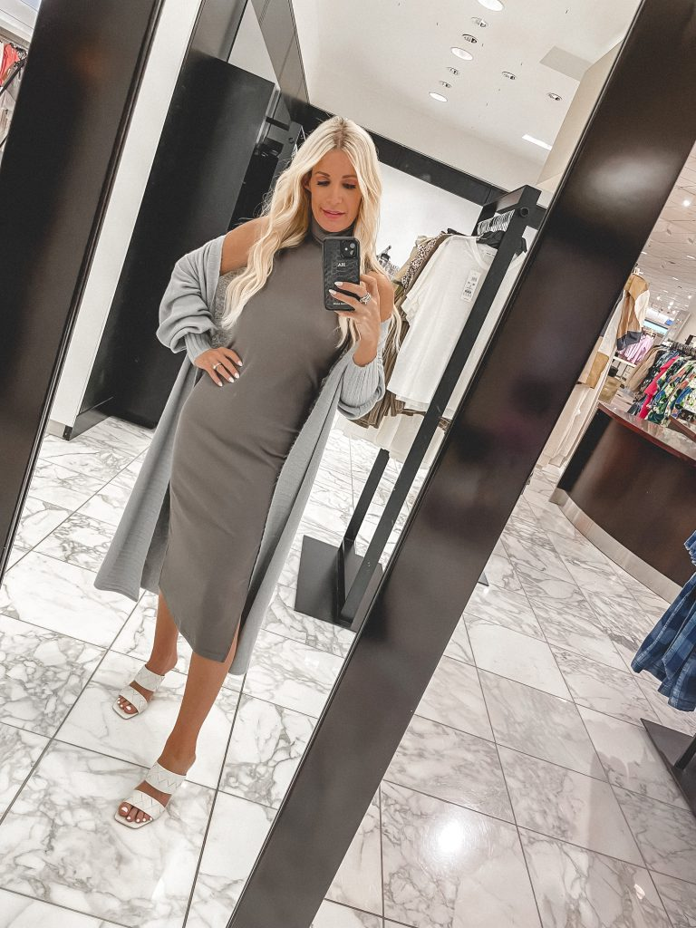 So Heather blog wearing a long grey cardigan and white mules