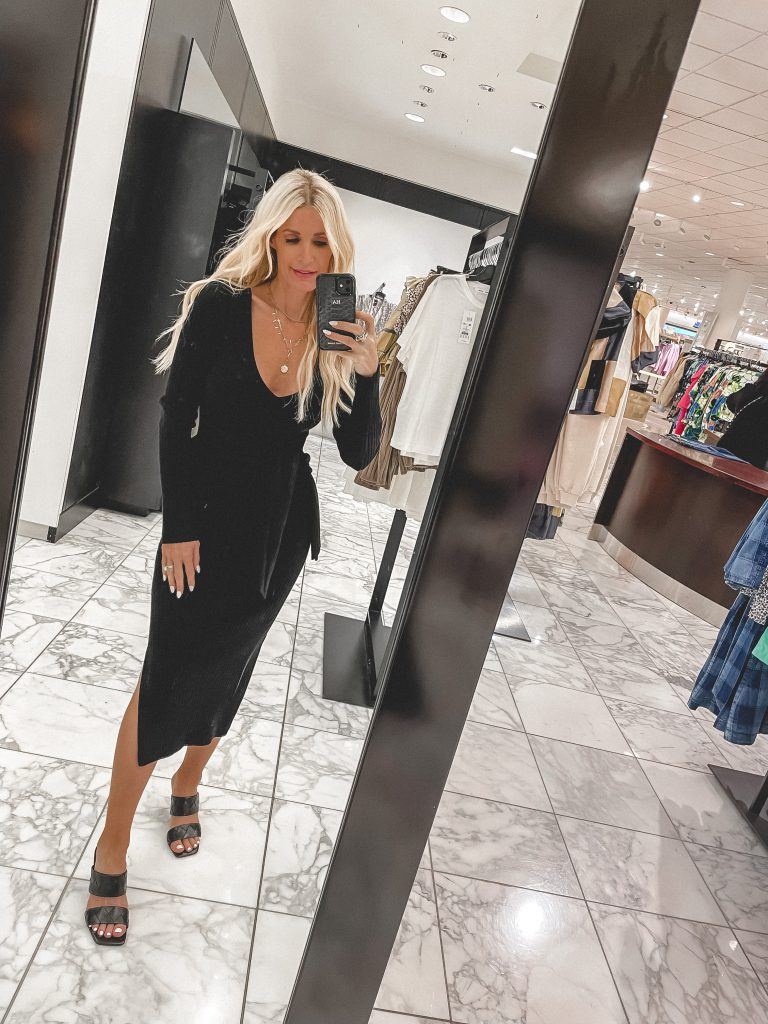 Dallas style blogger wearing a long black ribbed dress from the NSALE