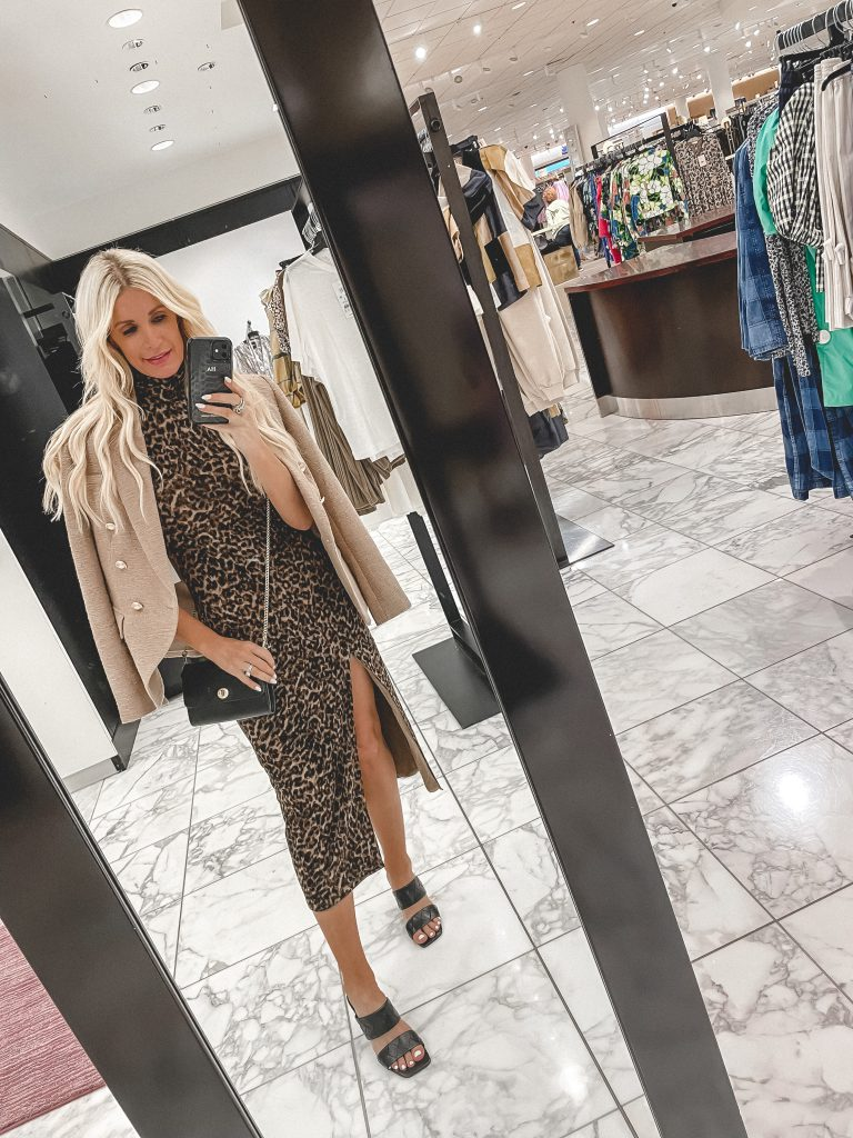 Dallas blogger wearing a leopard print dress and a tweed jacket