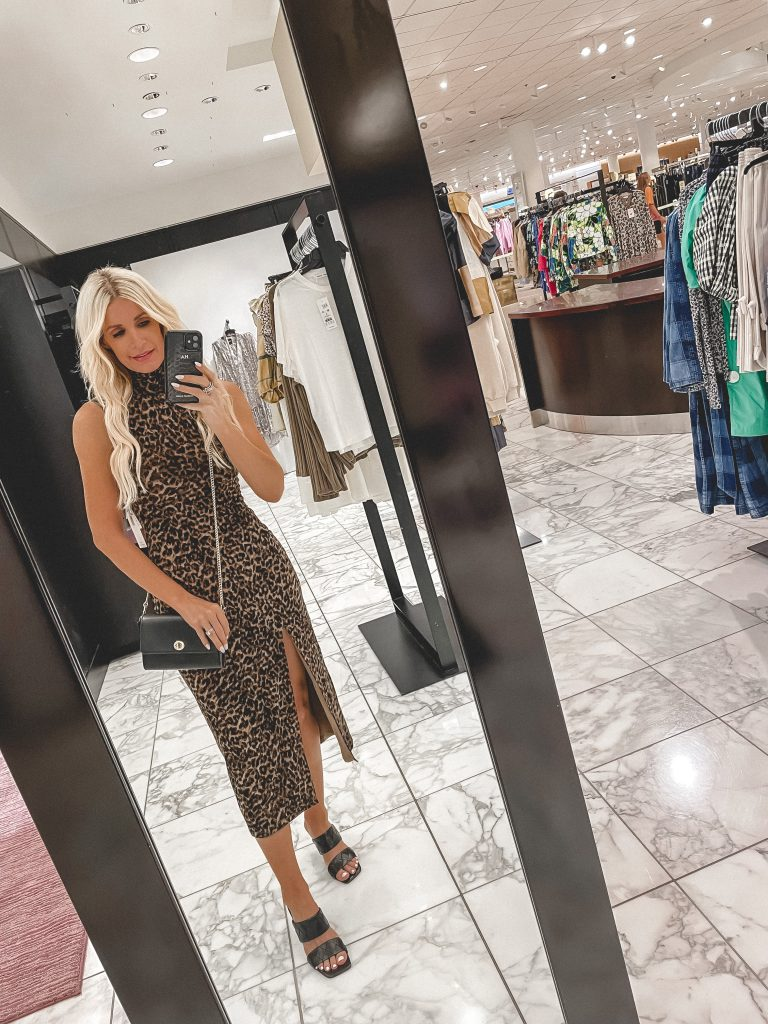 Dallas fashion blogger wearing a leopard dress from nordstrom