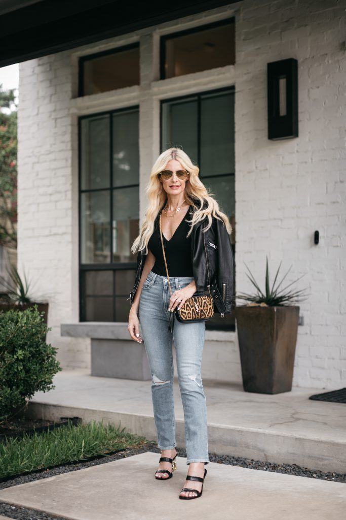 Dallas fashion blogger wearing a black leather jacket and Paige denim for fall