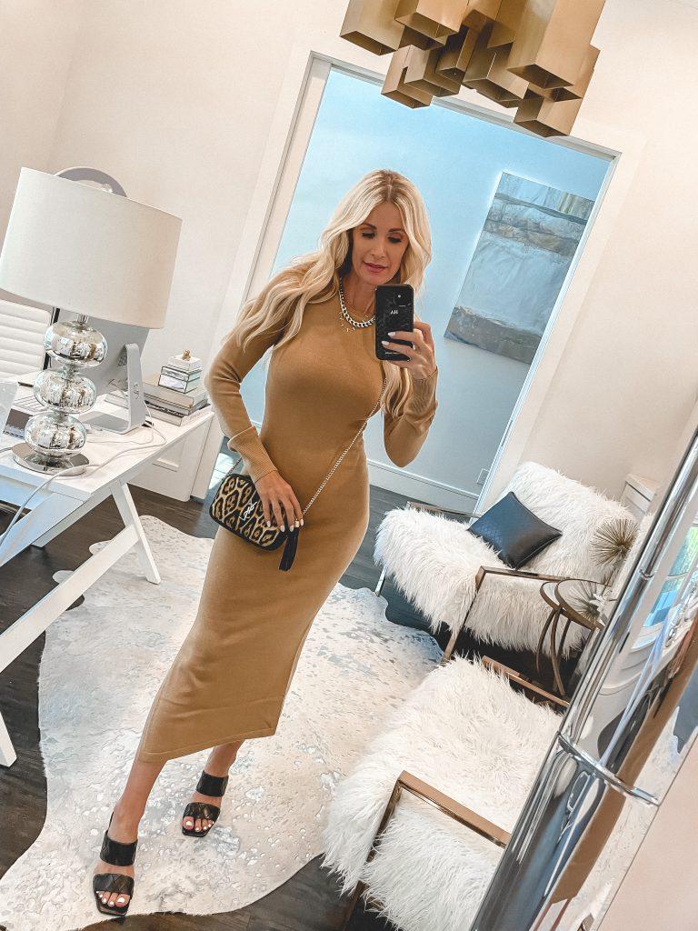 Dallas fashion blogger wearing a camel long-sleeve dress