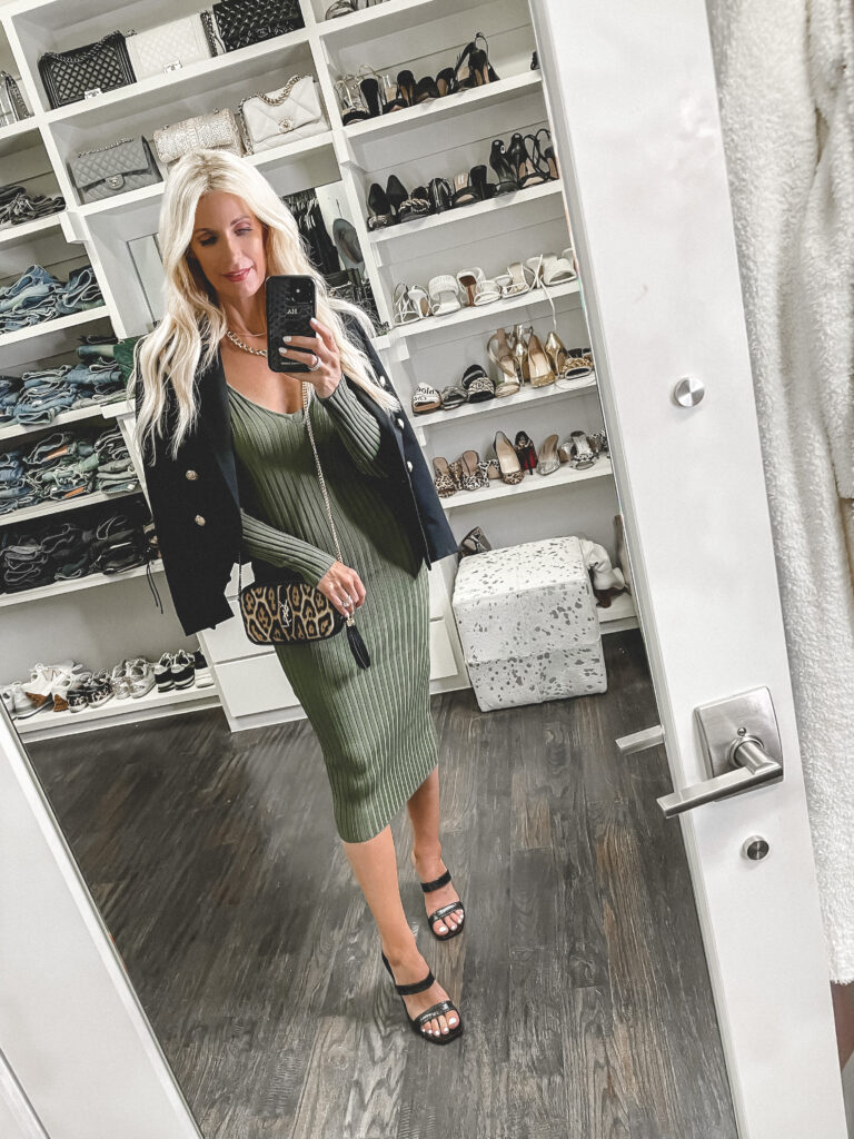 Dallas fashion blogger wearing a long sleeve olive green dress and a black blazer