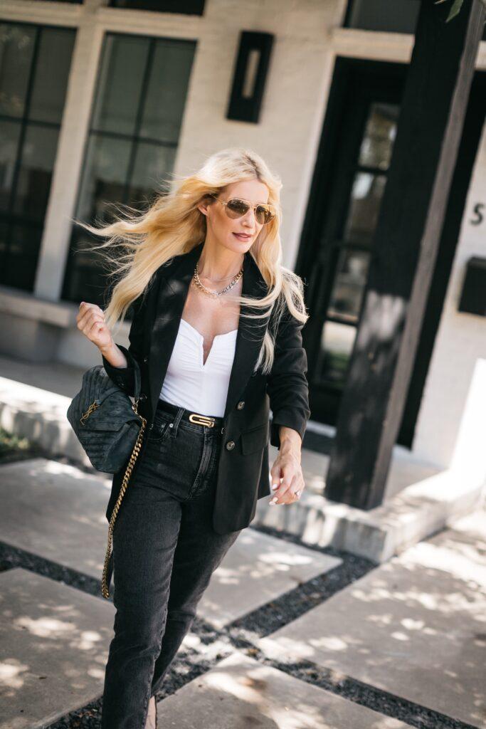 Dallas fashion blogger wearing a black blazer and black denim for fall
