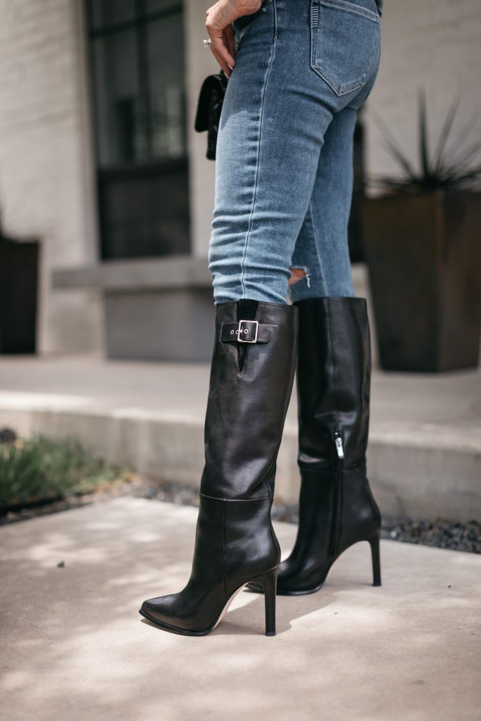 Dallas blogger wearing knee high boots by Paige from the Nordstrom anniversary sale
