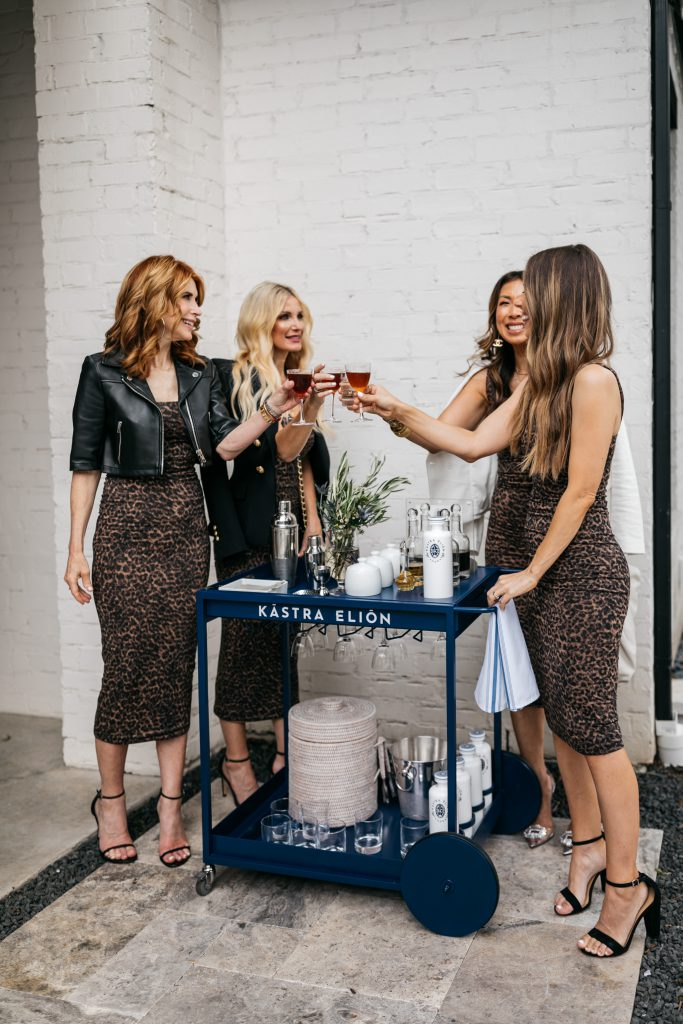 Dallas fashion bloggers having happy hour with a Kastra Elion bar cart