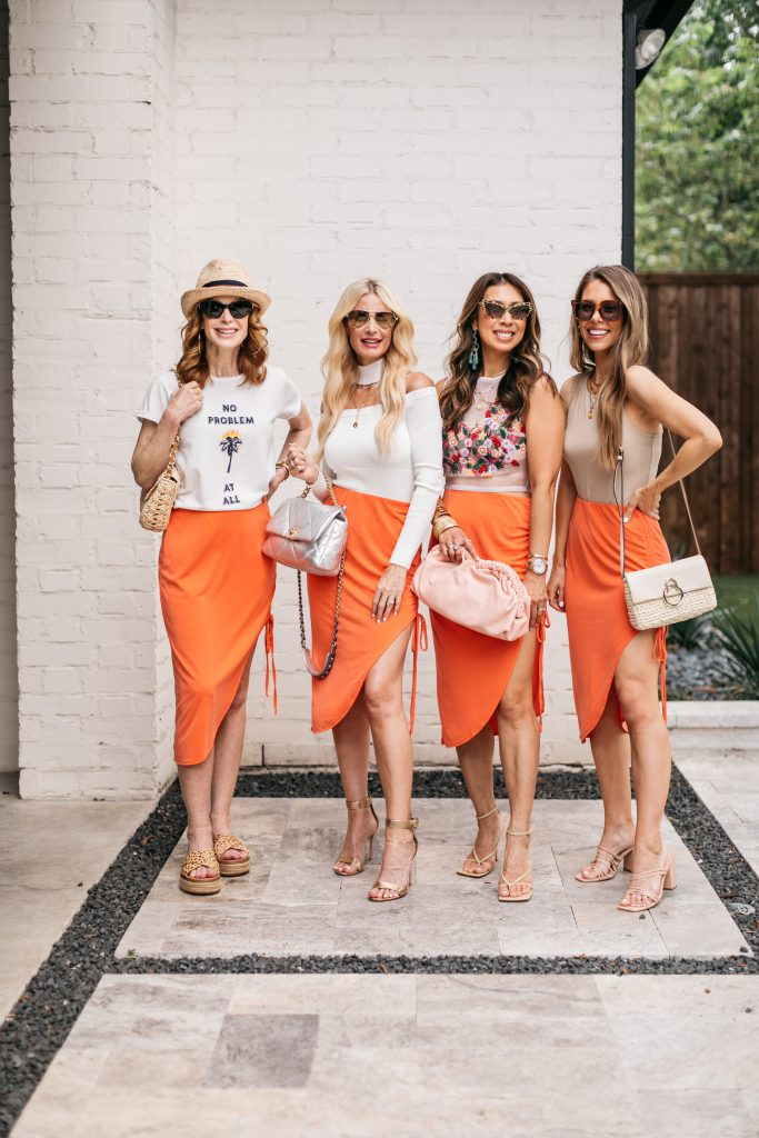 Chic At Every Age bloggers wearing a summer midi skirt styled 4 ways