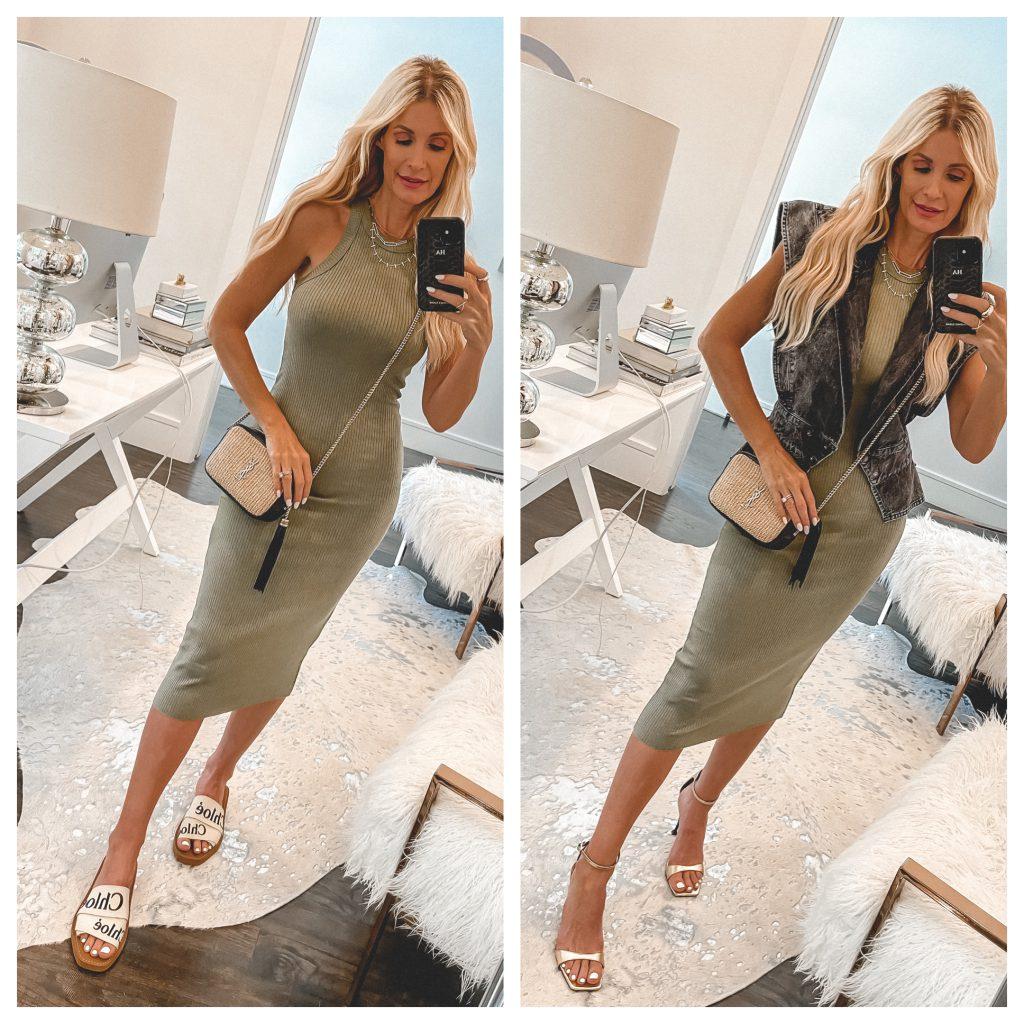Dallas Fashion Blogger wearing a green midi dress and Chloe slides