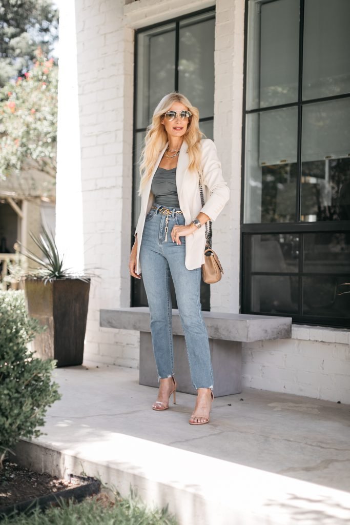 Dallas fashion blogger wearing a neutral blazer and bodysuit from Express