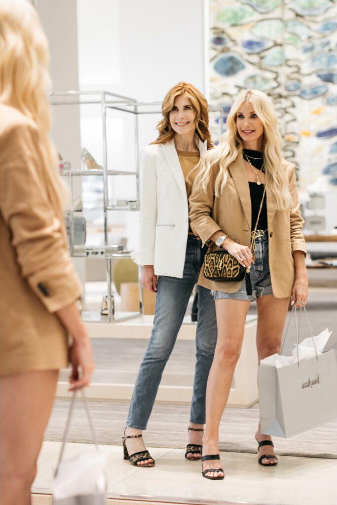 Dallas fashion bloggers wearing a chic camel colored blazer at Neiman Marcus
