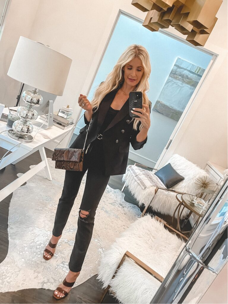 So Heather Blog wearing a black on black outfit with black denim from Express
